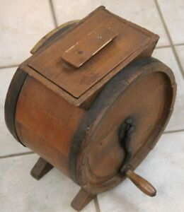 Rare Antique Wood Barrell Hand Crank Butter Churn No 1 Improved