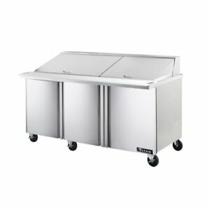Titan Timu72 30 Mega Top Sandwich Prep Tables 3 Door 30 Pans 72 Inch