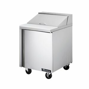 Titan Tisu28 8 Sandwich Prep Tables 1 Door 8 Pans 28 Inch