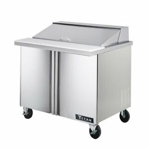 Titan Tisu36 10 Sandwich Prep Tables 2 Door 10 Pans 36 Inch