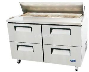 New 60 Atosa Four Drawer Salad Prep Table Reach in Refrigerator Reach in Msf83