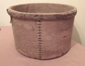 Large 1800 S Antique Handmade Pantry Cheese Wood Iron Round Box Container Wine