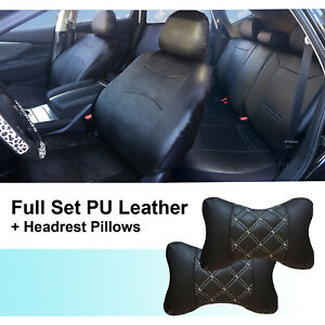Full 5 Seats Pu Leather Cushion Covers 2 Pillows To Suv Van 53255 Black