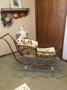 Vintage Victorian Wicker Baby Carriage