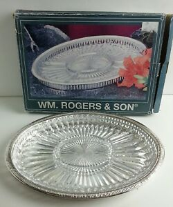 Silver Plate Crystal Relish Tray Wm Rogers Son 00115705 Buffet Dinner Meal