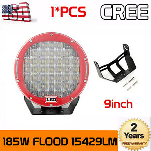 9 Inch 185w Cree Led Work Light Flood Driving Round Headlight Offroad Bumper Red
