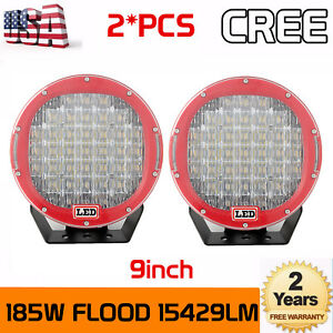 2x 185w Round 9 Inch Led Cree Driving Flood Light Drl Jeep Arb Replace Offroad