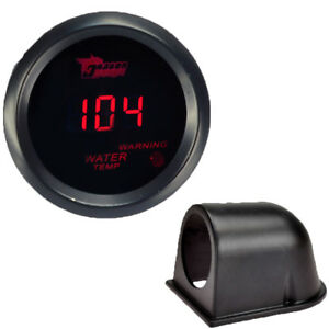 Car Black 2 52mm Red Digital Led Electronic Water Temperature Gauge Pod Holder