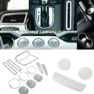 Silver Aluminum Interior Trim Dash Parts Kit Brushed Cover For Ford Mustang ya