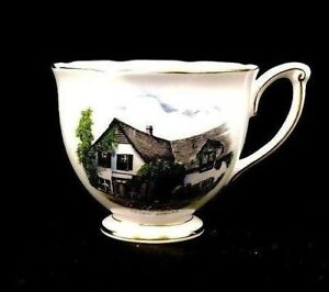 Queen Anne Fine Bone China Green Gables Hand Painted Tea Cup England Rare