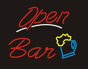 Neon Light Sign Open Bar Handcrafted Glass Tube Neon Sign Bar Sign Business Sign