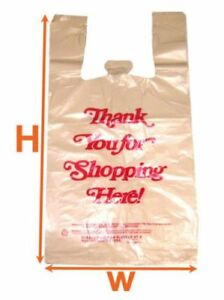 Beige Large Plastic Shopping T shirt Grocery Store Bags 11 5 X 6 5 X 21 5 1 6