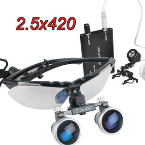 Dental Surgical Binocular Loupes 2 5x 420mm Optical Glass Head Light With Clip