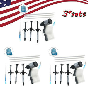 Us 9 Syringes 3 Bottles Orthodontic Light Cure Brackets Adhesive Bonding System
