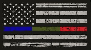 Thin Blue Red Green Line American Flag Distressed Vinyl Decal Car Window Sticker