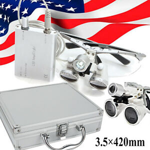 Led Headlight silver 3 5x 420 Dental Loupes Lab Surgical Glasses portable Box