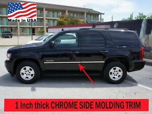 Flexible Chrome Side Door Molding Rocker Panel Trim Kit For Tahoe 2007 2014