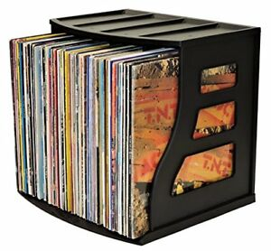 Vinyl Record Storage Crate Lp Album Box Holds Over 75 Lps Ring Binder Stand Arch