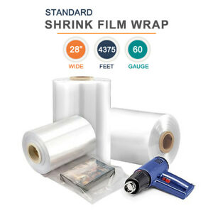 28 Polyolefin Shrink Film Heat Shrink Film Wrap 60 Gauge 4375 Ft 1 Roll