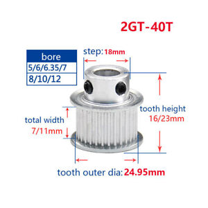 2gt 40t Timing Pulley 5 14mm Bore For 6 10mm Width Belt For 3d Printer Reprap