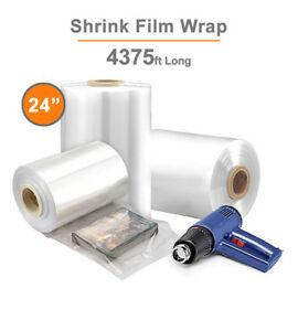 24 Polyolefin Shrink Film Centerfold Crosslinked 60 Gauge 4375 Ft 1 Roll