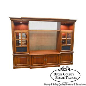 Hooker Furniture Large Cherry Entertainment Tv Unit W Curio Display Cabinets