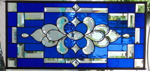 Stained Glass Window Hanging 29 X 14 Brass Border Edging