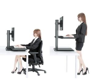 Han alice Sit To Stand Workstation Dual Monitor Ergonomic Standing Desk Convert