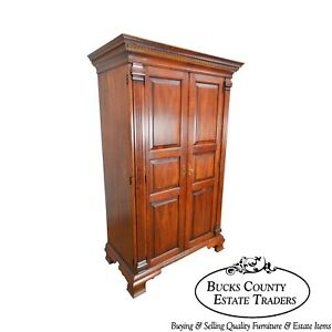 Statton Chippendale Solid Cherry 2 Door Chester Country Wardrobe Storage Cabinet