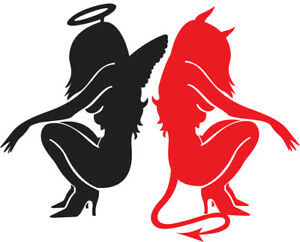 Devil Vs Angel Girl Vinyl Decal Car Truck Window Sticker Cute Cool Drift Jdm