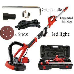 4ft Swivel Electric 5 Speed Drywall Sander 6pcs Sand Paper Portable Case