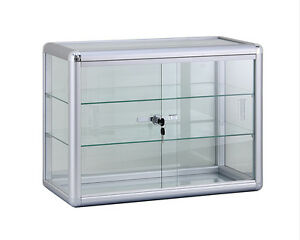 Glass Counter Top Display Case 24 X 18 W Lock Silver Finish New York Pickup