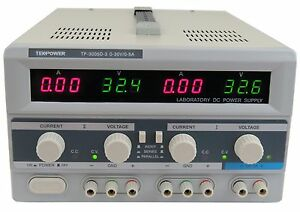 Used Tekpower Tp3005d 3 Digital Variable Triple Outputs Dc Power Supply 30v 5a