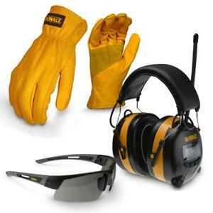 Dewalt X Large Apparel Work Kit With Earmuff Leather Gloves Safety Glass Glasses