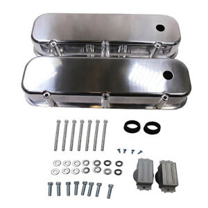 Polished Aluminum Tall Valve Covers Smooth Top For Bbc Big Blok Chevy 396 427
