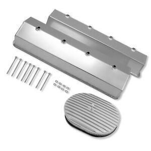 12 x2 Oval Full Finned Polished Aluminum Air Cleaner Assembly W paper Flat Base