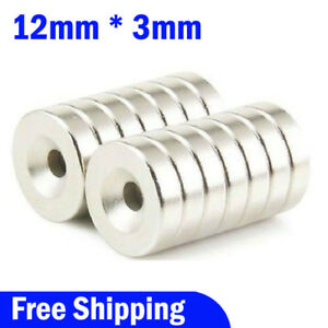 Lot 10 100 Strong Countersunk Ring Magnets 12x 3mm Rare Earth Neodymium 4mm Hole