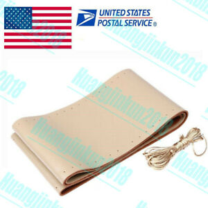 Us Genuine Leather Diy Car Steering Wheel Cover With Needles And Thread Beige