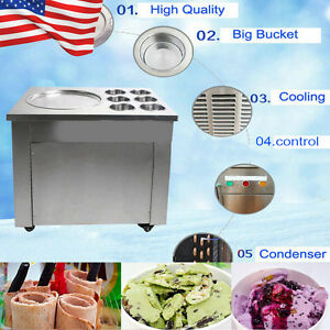 Usa Commercial Fried Ice Cream Machine Yogurt Making Fry Ice Roll Maker 6bucket