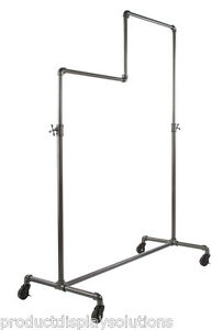 Pipe Pipeline Rolling Clothing Garment Display Rack Two Tiers Adj Height Grey