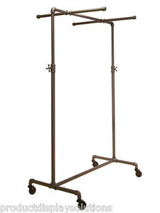 Pipe Pipeline Single Rail Rolling Clothing Rack W 2 Cross Bar Adj Height Grey
