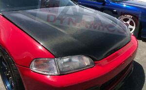 Oe Style Carbon Fiber Hood For 1992 1995 Honda Civic Coupe Hatchback