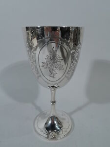 Victorian Goblet 2769 Antique Flowers English Sterling Silver Lias 1875