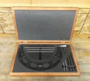 Starrett Outside Micrometer No 224 Set C 9 12 With Wooden Box And Standards