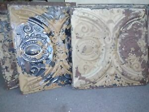Lot Of 6 24 X24 Old Antique Vintage Shabby Chic Stamped Metal Tin Ceiling Tile