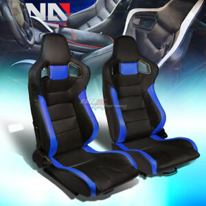 Black blue Sides Reclinable Pvc Leather Type r Racing Seats W universal Sliders