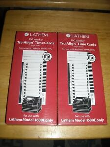 2 New Lathem E16 Tru Align Time Cards Box Of 100 For The 1600e Only Brand New