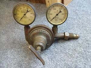 Antique 1917 Patent Heavy Brass Rego Valve Gauge Assembly Steampunk
