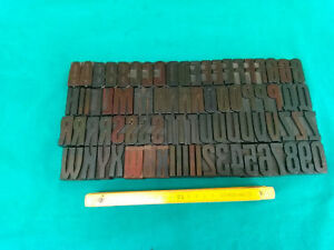 Old Wood Type Printing Letters Press Alphabet Numbers 80 Pcs 1 8 4 5cm