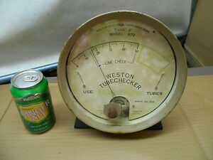 Vintage Large Meter Gauge Weston Electrical Instr tube Checker steampunk